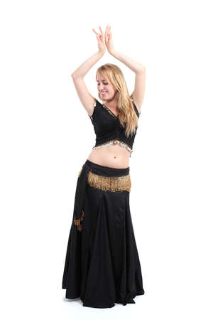 Belly dancer dancing isolated on a white background               photo