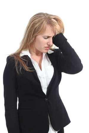hand on forehead: Stressed businesswoman with her hand in forehead isolated on a white background