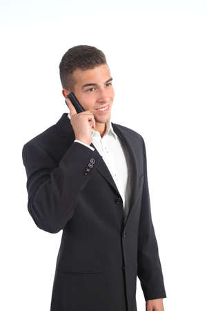 Elegant young businessman on the phone isolated on a white background             photo