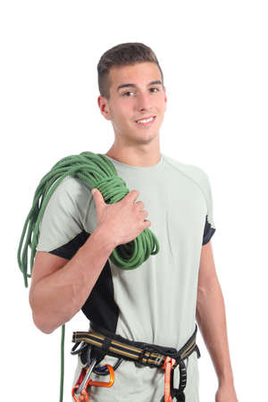 scaler: Young man ready to climb isolated on a white background               Stock Photo