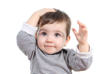 oops: Beautiful baby girl with hand on the head isolated on a white background