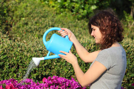 plant: Beautiful woman watering flowers with a watering can in the garden Stock Photo