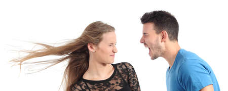 Man shouting to a woman isolated on a white background Stock Photo - 21378801
