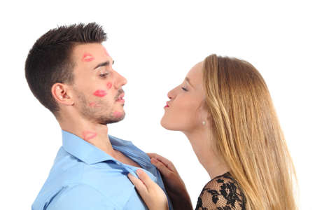 lipstick kiss: Woman trying to kiss a man desperately isolated on a white background