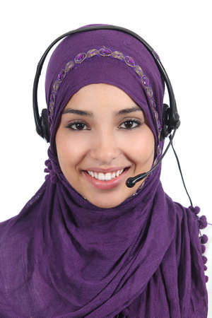 Beautiful arab woman operator with headset isolated on a white background              photo