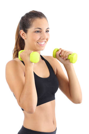 Beautiful fitness woman practicing aerobic with dumbbells isolated on a white background photo