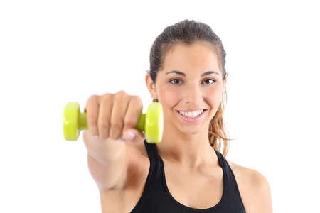 Vooraanzicht van een gelukkig fitness vrouw beoefenen van aerobic geïsoleerd op een witte achtergrond Stockfoto