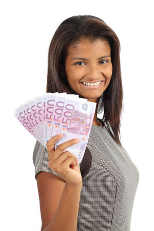 Pretty african american woman holding money isolated on a white background photo