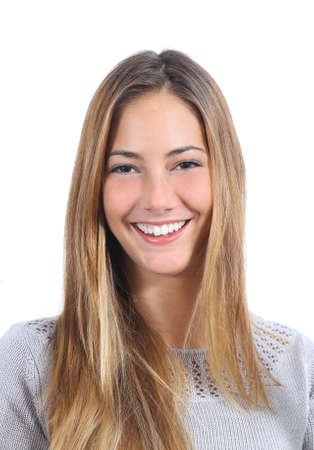 Portrait of a young woman with a perfect smile isolated on a white background photo
