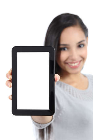 Pretty woman showing a blank vertical tablet screen