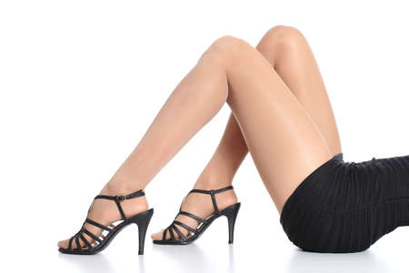 Woman legs with stockings and heels  photo