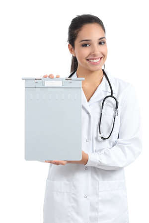Beautiful doctor woman holding and showing a medical history folder isolated on a white