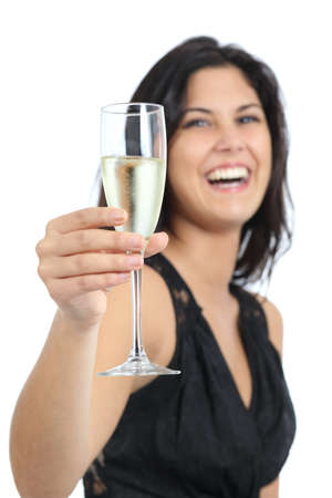 Beautiful woman laughing and toasting with champagne isolated on a white background                photo