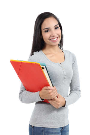 Arab student teenager girl posing with folders isolated on a white background            photo