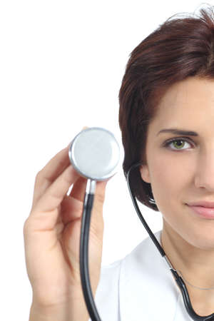 auscultate: Beautiful doctor woman holding a stethoscope ready to auscultate isolated on a white background