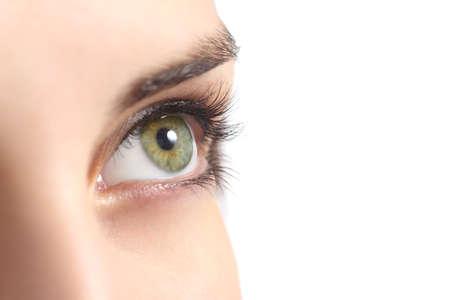 白い背景に分離された緑の女性の目のクローズ アップ