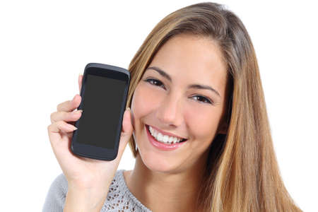 exhibiting: Cute girl showing a blank smart phone screen isolated on a white background