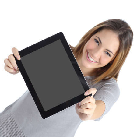 Top view of a woman showing a blank digital tablet screen isolated on a white background            Stock Photo