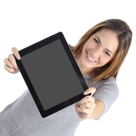 exibindo: Vista superior de uma mulher que mostra uma tela digital da tabuleta em branco isolado em um fundo branco Banco de Imagens