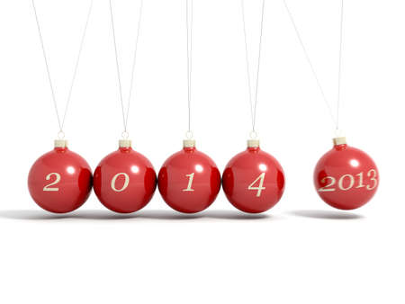 Christmas balls new year's eve Newton pendulum 2013 - 2014 isolated on a white Stock Photo - 24561557