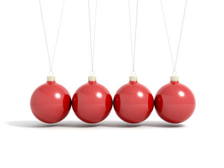 bye: Render of red christmas balls in pendulum isolated on a white
