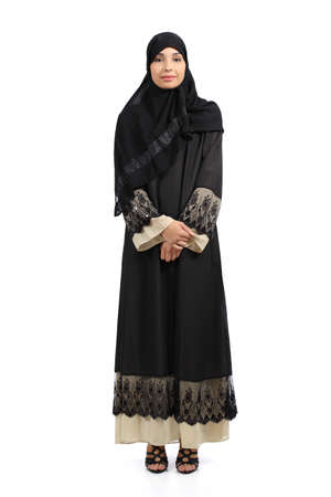 arab hijab: Arab woman posing standing wearing a hijab isolated on a white background