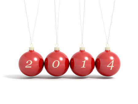 newyears: Render of 2014 new year christmas balls pendulum isolated on a white
