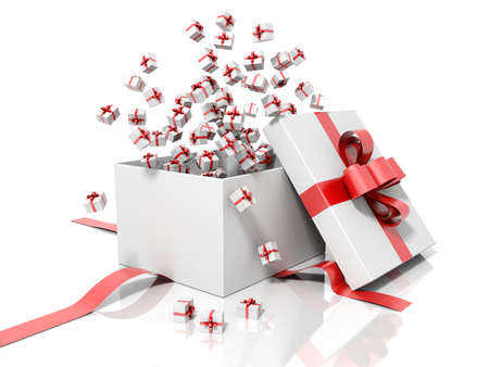 red gift box: Render of a white gift box with a red ribbon throwing little gift boxes isolated on a white background