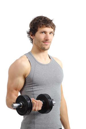 Attractive and athletic man doing weights isolated on a white background                photo