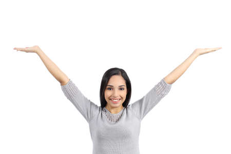 Arab woman holding an advertising raising arms isolated on a white background              photo