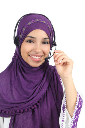 telephonist: Arab woman working as a telephone operator isolated on a white background