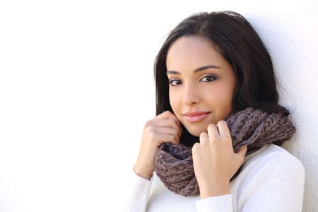 warmly: Facial of a sexy woman smooth face in winter warmly clothed outdoors