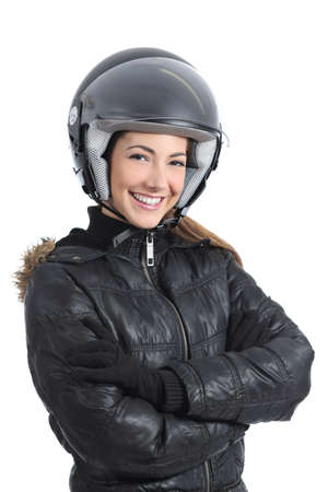 Beautiful urban biker woman with a helmet isolated on a white background