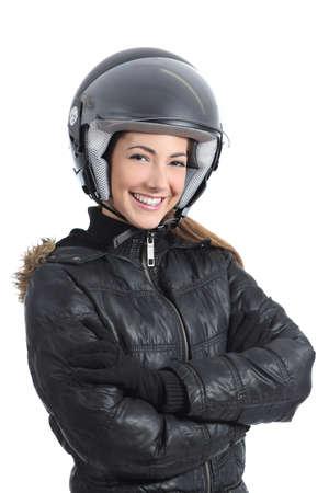 Hermosa mujer ciclista urbano con un casco aislado en un fondo blanco Foto de archivo
