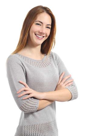 white smile: Donna sicura di s� con il sorriso bianco in piedi con le braccia piegate isolato su uno sfondo bianco Archivio Fotografico