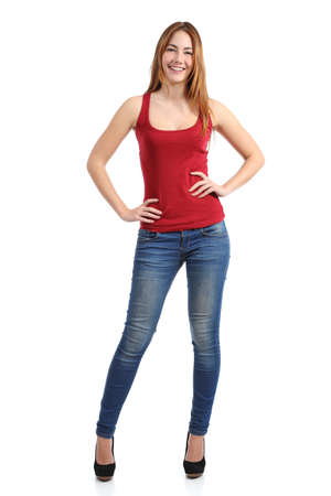 full. body: Front view of a beautiful standing woman model posing isolated on a white background