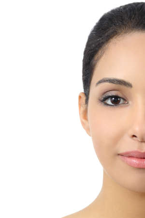 half: Facial half front portrait of a woman smooth face isolated on a white background