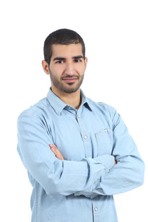 Arab casual man posing with folded arms isolated on a white background