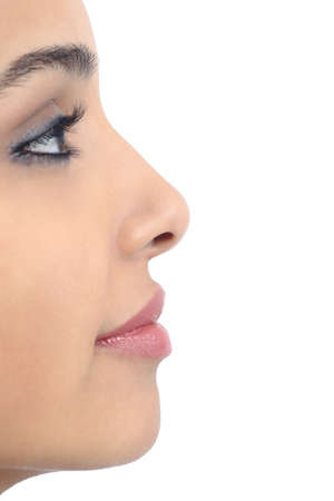 nose close up: Profile of a perfect woman nose isolated on a white background
