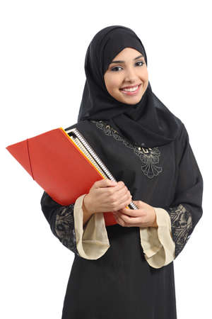 Happy saudi Arab student holding folders isolated on a white background           photo