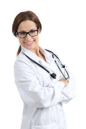 Beautiful female doctor posing with glasses isolated on a white background            photo