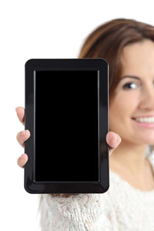 Woman hand holding and showing a blank tablet pc screen isolated on a white background             Stock Photo - 25187505