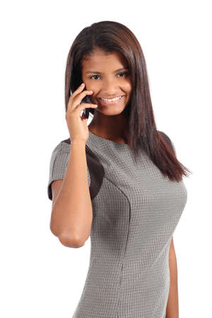 Beautiful african american businesswoman on the phone isolated on a white background photo