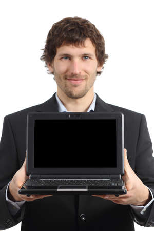 software portability: Attractive businessman showing a netbook screen app isolated on a white background              Stock Photo