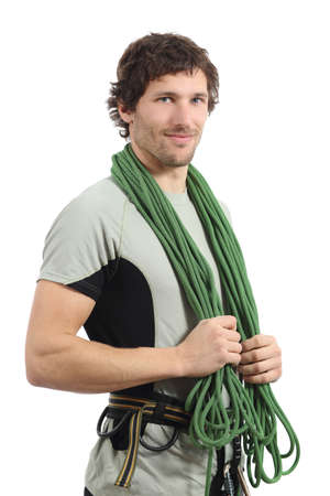 rockclimb: Attractive rock climber posing with harness and cord isolated on a white background