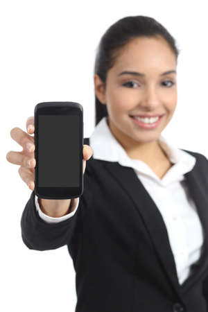 Arab business woman showing a blank smartphone screen application isolated on a white background                 photo
