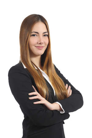 Confident beautiful business woman posing with folded arms isolated on a white background photo