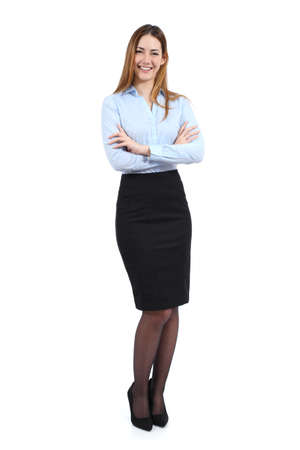 formal: Full body portrait of a young happy standing beautiful business woman isolated on a white background