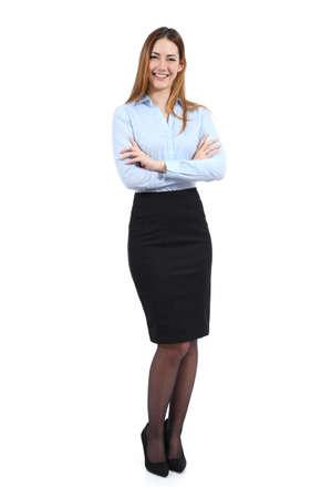 falda: Retrato de cuerpo entero de una mujer joven de pie hermosa mujer de negocios aislados en un fondo blanco
