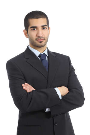 아랍 비즈니스 자신감을 사람이 접혀 팔 흰 배경에 고립 포즈